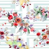 """Постер, картина, фотообои """"Букет с цветами и фруктами. Дикие весны листьев Уайлдфлауэр изолированы. Набор акварели иллюстрации. Рисования акварелью моды акварель. Бесшовный фон узор. Обои для рабочего стола ткань печати текстуры"""""""