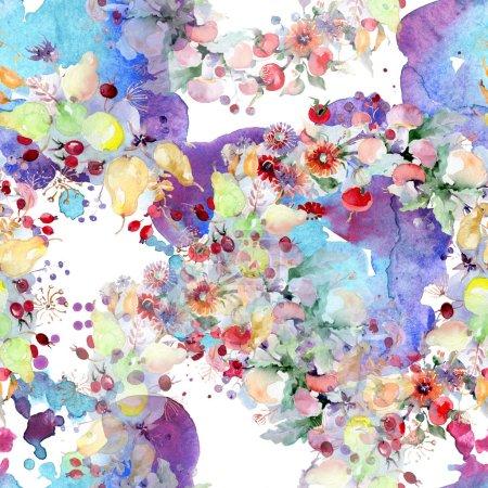 Photo pour Bouquet de fleurs et de fruits. Feuille sauvage de printemps fleur sauvage isolée. Ensemble d'illustration aquarelle. Aquarelle dessin mode aquarelle. Modèle de fond sans couture. Texture d'impression papier peint tissu . - image libre de droit