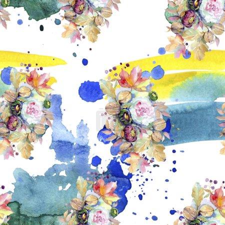Foto de Ramos florales botánico la flor. Hoja de primavera salvaje aislada. Conjunto de ilustración acuarela. Acuarela dibujo moda aquarelle aislado. Patrón de fondo transparente. Textura impresión de papel pintado de tela. - Imagen libre de derechos