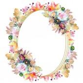 """Постер, картина, фотообои """"Цветочные букеты ботанические цветок. Дикие весны листьев Уайлдфлауэр изолированы. Акварель фон иллюстрации набора. Акварель рисования моды акварель изолированы. Площадь орнамент границы кадра."""""""