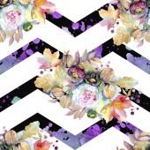 """Постер, картина, фотообои """"Цветочные букеты ботанические цветок. Дикие весны листьев изолированы. Набор акварели иллюстрации. Акварель рисования моды акварель изолированы. Бесшовный фон узор. Обои для рабочего стола ткань печати текстуры."""""""