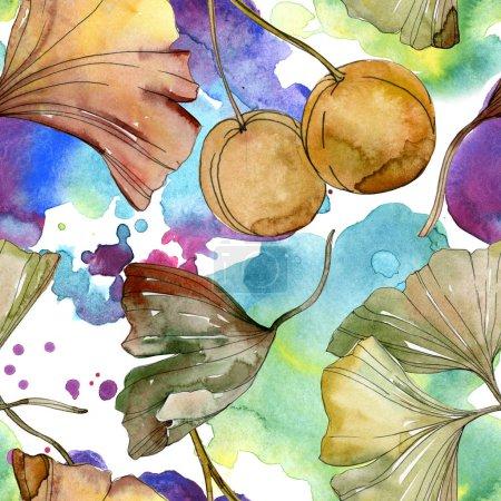 grün-rote Blätter des Ginkgo biloba. Aquarell Hintergrundillustration Set. nahtloses Hintergrundmuster.