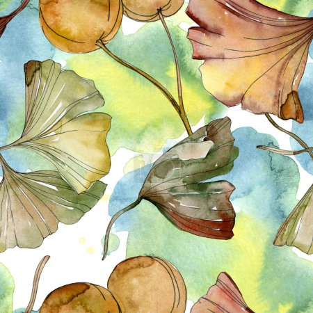 Photo for Green and red ginkgo biloba leaves. Watercolor illustration set. Seamless background pattern. - Royalty Free Image