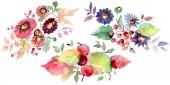 """Постер, картина, фотообои """"Букеты с цветами и фруктами. Акварель фон иллюстрации набора. Изолированные букеты иллюстрации элемент"""""""