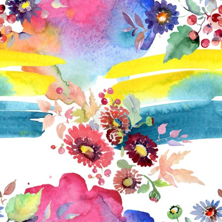 Photo for Bouquets with flowers and fruits. Watercolor illustration set. Seamless background pattern. - Royalty Free Image