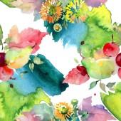 """Постер, картина, фотообои """"Букеты с цветами и фруктами. Акварель фон иллюстрации набора. Бесшовный фон узор"""""""