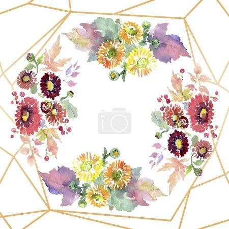 Photo pour Bouquets de fleurs et de fruits. Aquarelle de fond illustration ensemble. Ornement de bordure cadre avec espace copie. - image libre de droit
