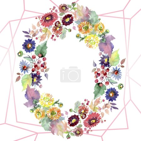 Photo for Bouquets with flowers and fruits. Watercolor background illustration set. Frame border ornament with copy space. - Royalty Free Image