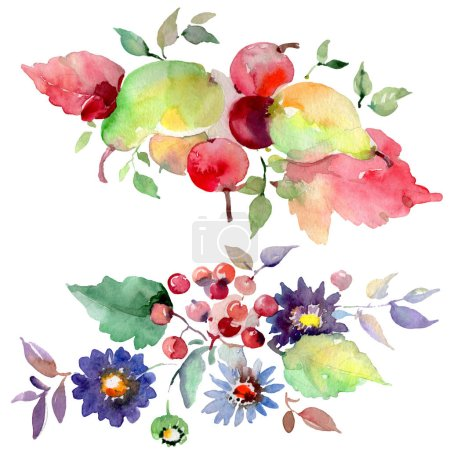 Bouquets with flowers and fruits. Watercolor background illustration set. Isolated bouquets illustration element.