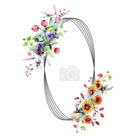 Photo pour Bouquets de fleurs et de baies. Ensemble d'illustration de fond aquarelle. Cadre bordure ornement avec espace de copie . - image libre de droit