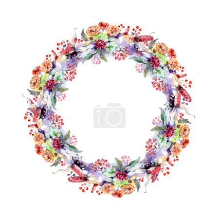 Photo for Bouquets with flowers and berries. Watercolor background illustration set. Frame border ornament with copy space. - Royalty Free Image
