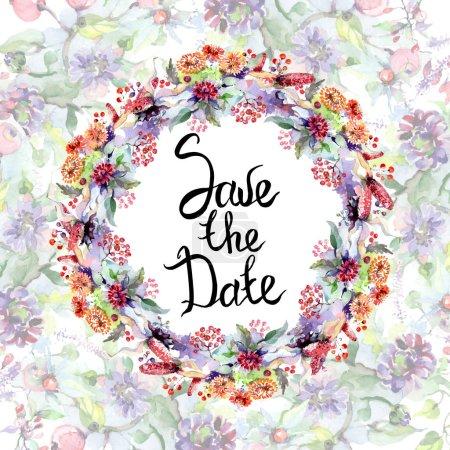 Photo pour Bouquets de fleurs et de baies. Ensemble d'illustration de fond aquarelle. Carte de voeux avec enregistrer le lettrage de date . - image libre de droit