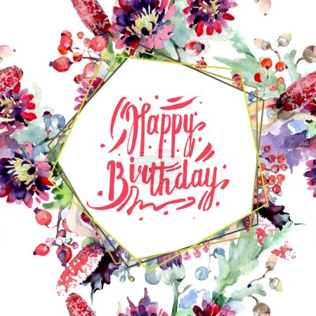 Photo for Bouquets with flowers and berries. Watercolor background illustration set. Greeting card with happy birthday lettering. - Royalty Free Image