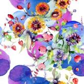 """Постер, картина, фотообои """"Букет с цветами и ягодами. Ботанический цветочные цветок. Дикие весны листьев Уайлдфлауэр изолированы. Акварель фон иллюстрации набора. Акварель рисования моды акварель изолированные"""""""