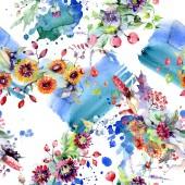 """Постер, картина, фотообои """"Букет с цветами и ягодами. Ботанический цветочные цветок. Дикие весны листьев Уайлдфлауэр изолированы. Акварель фон иллюстрации набора. Акварель рисования моды акварель изолированные."""""""