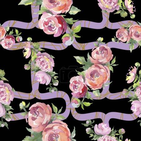 Photo pour Pivoines avec des feuilles vertes sur le fond noir. Ensemble d'illustration d'aquarelle. Modèle de fond sans couture. - image libre de droit
