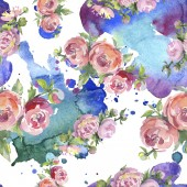 """Постер, картина, фотообои """"Peonies with green leaves on white background. Watercolor illustration set. Seamless background pattern."""""""
