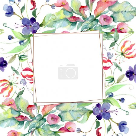 Foto de Flowers with green leaves isolated on white. Watercolor background illustration elements. Frame with copy space. - Imagen libre de derechos