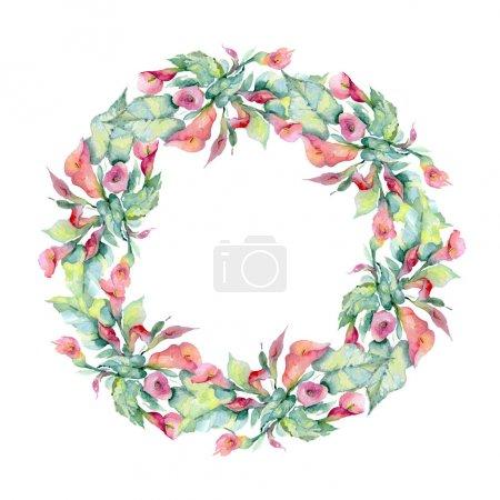 Photo pour Fleurs avec des feuilles vertes d'isolement sur le blanc. Éléments d'illustration de fond d'aquarelle. Cadre avec l'espace de copie. - image libre de droit
