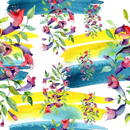 Photo pour Wildflowers with green leaves. Watercolor background illustration set. Seamless background pattern. - image libre de droit