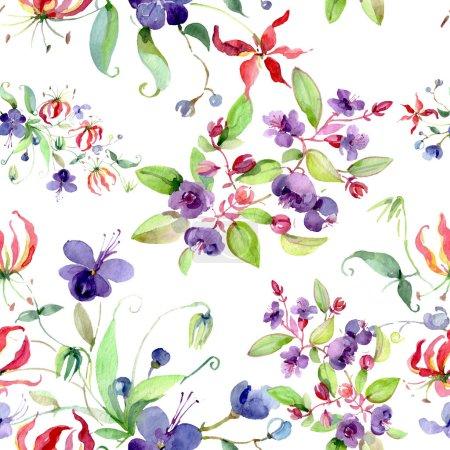 Foto de Wildflowers with green leaves. Watercolor background illustration set. Seamless background pattern. - Imagen libre de derechos