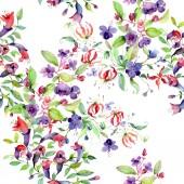 "Постер, картина, фотообои ""Wildflowers with green leaves. Watercolor background illustration set. Seamless background pattern."""