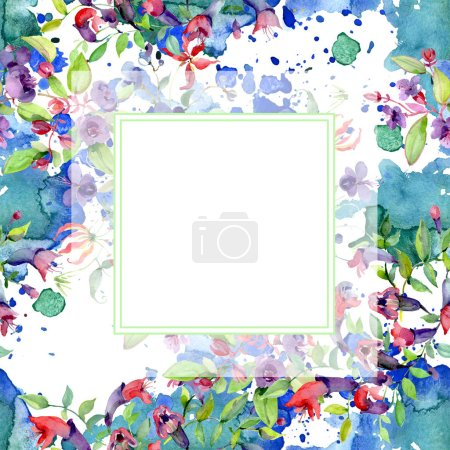 Photo for Flowers with green leaves isolated on white. Watercolor background illustration elements. Frame with copy space. - Royalty Free Image