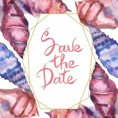 Blue and purple marine tropical seashells isolated on white. Watercolor illustration frame with save the date lettering.