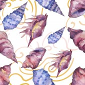 Blue and purple marine tropical seashells. Watercolor background illustration set. Seamless background pattern.