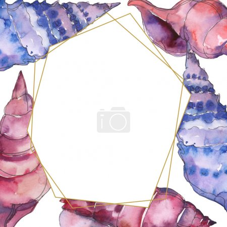 Photo for Blue and purple marine tropical seashells isolated on white. Watercolor illustration frame with copy space. - Royalty Free Image