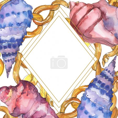 Foto de Blue and purple marine tropical seashells isolated on white. Watercolor illustration frame with copy space. - Imagen libre de derechos