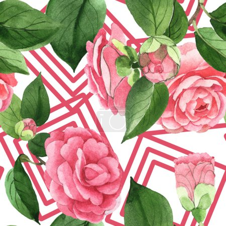 Photo for Pink camellia flowers with green leaves. Watercolor illustration set. Seamless background pattern. - Royalty Free Image