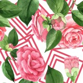 "Постер, картина, фотообои ""Pink camellia flowers with green leaves. Watercolor illustration set. Seamless background pattern. """