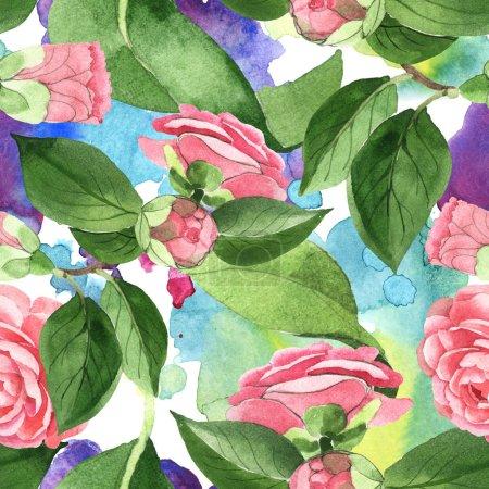 Foto de Pink camellia flowers with green leaves on background with watercolor paint spills. Watercolor illustration set. Seamless background pattern. - Imagen libre de derechos
