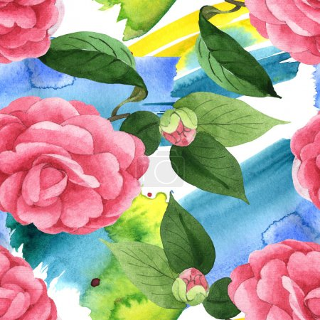 Photo for Pink camellia flowers with green leaves on background with watercolor paint brushstrokes. Watercolor illustration set. Seamless background pattern. - Royalty Free Image