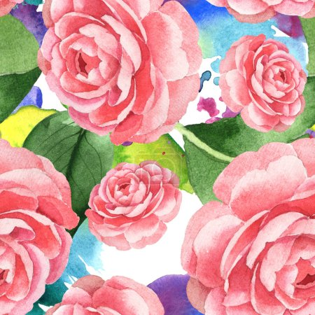 Photo for Pink camellia flowers with green leaves on background with watercolor paint spills. Watercolor illustration set. Seamless background pattern. - Royalty Free Image