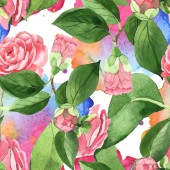 """Постер, картина, фотообои """"Pink camellia flowers with green leaves on background with watercolor paint spills. Watercolor illustration set. Seamless background pattern. """""""