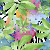 "Постер, картина, фотообои ""Exotic tropical hawaiian green palm leaves. Watercolor background set. Seamless background pattern."""