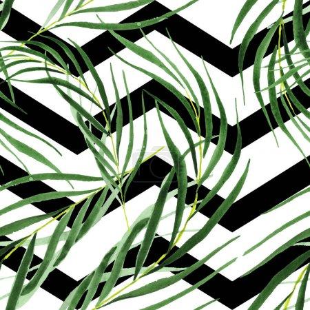 Foto de Exóticas hojas tropicales de palma verde hawaiana. Conjunto de fondo de acuarela. Patrón de fondo sin costuras. - Imagen libre de derechos