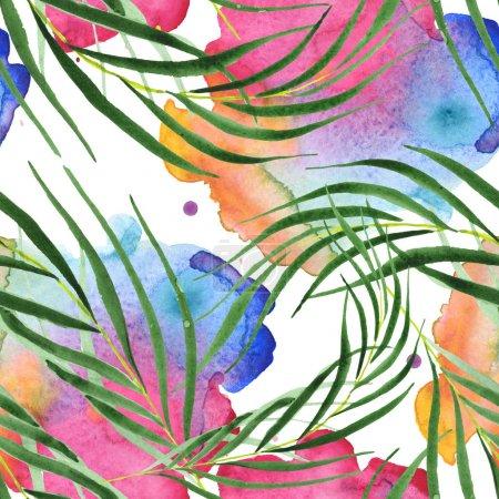 Foto de Exotic tropical hawaiian green palm leaves. Watercolor background set. Seamless background pattern. - Imagen libre de derechos