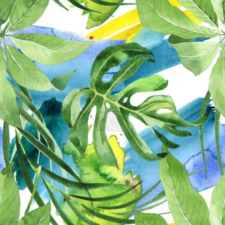 Photo pour Feuilles de palmier vert hawaïenne savantes exotiques. Ensemble de fond d'aquarelle. Modèle de fond sans couture. - image libre de droit