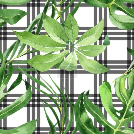 Photo for Exotic tropical hawaiian green palm leaves. Watercolor background set. Seamless background pattern. - Royalty Free Image