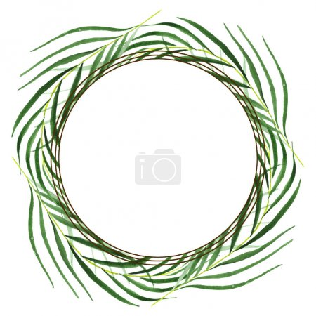 Photo pour Feuilles exotiques de palmier vert hawaïen tropical isolées sur blanc. Ensemble de fond aquarelle. Cadre avec espace de copie . - image libre de droit