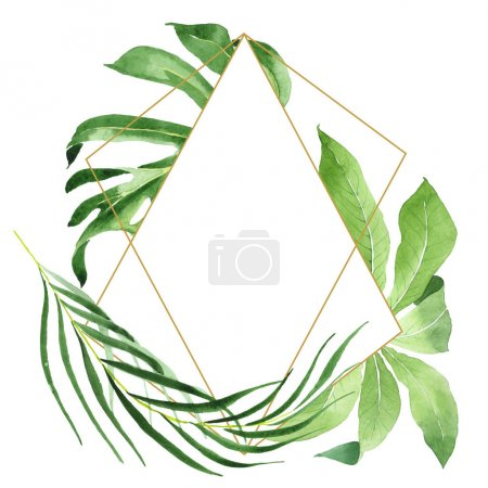 Photo for Exotic tropical hawaiian green palm leaves isolated on white. Watercolor background set. Frame with copy space. - Royalty Free Image
