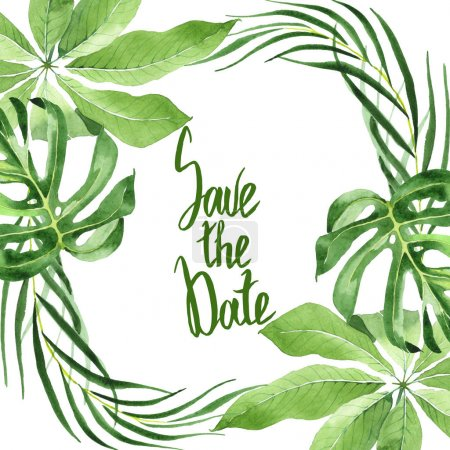 Foto de Exotic tropical hawaiian green palm leaves isolated on white. Watercolor background set. Frame with save the date lettering. - Imagen libre de derechos