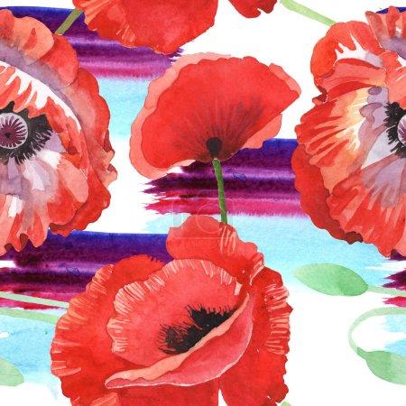 Photo pour Ensemble d'illustration d'aquarelle de coquelicots rouges. Modèle de fond sans couture. - image libre de droit