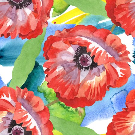Foto de Red poppies watercolor illustration set. Seamless background pattern. - Imagen libre de derechos