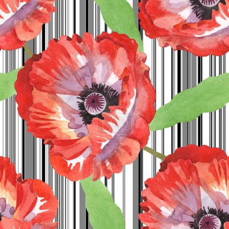 Photo for Red poppies watercolor illustration set. Seamless background pattern. - Royalty Free Image