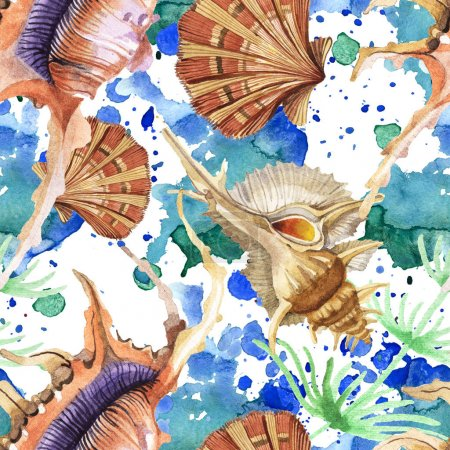 Photo for Seamless background pattern. Tropical seashells with green seaweed. Watercolor background illustration set. - Royalty Free Image
