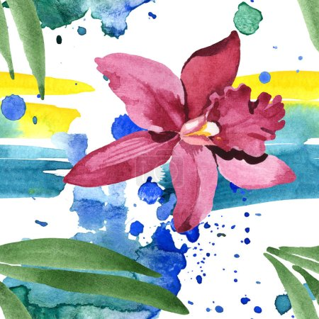 Photo pour Marsala orchid with green leaves on white background with paint spills. Watercolor illustration set. Seamless background pattern. - image libre de droit